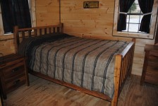Bed made from reclaimed barn wood