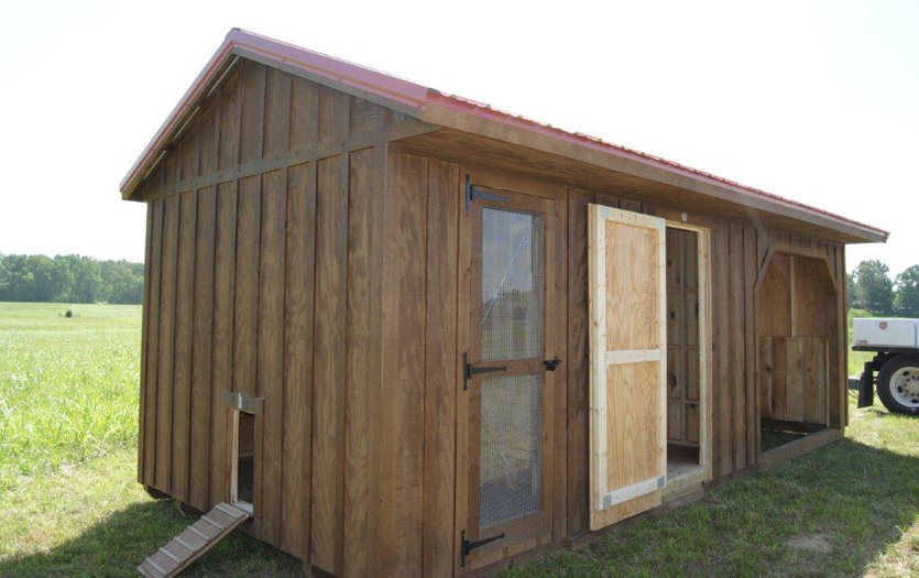 10x24 barn- stain(hawthorn) roof(barn red)