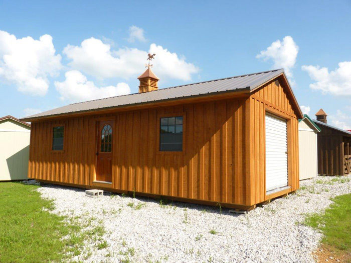 14x32 Deluxe. stain. cedar bark- roof. Charcoal