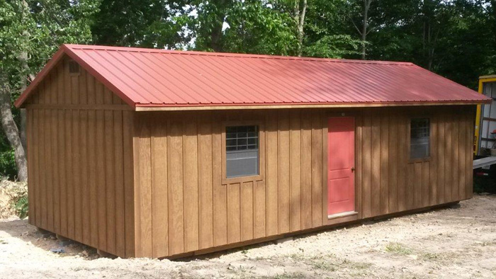 14x32- stain(hawthorn) roof (barn red)