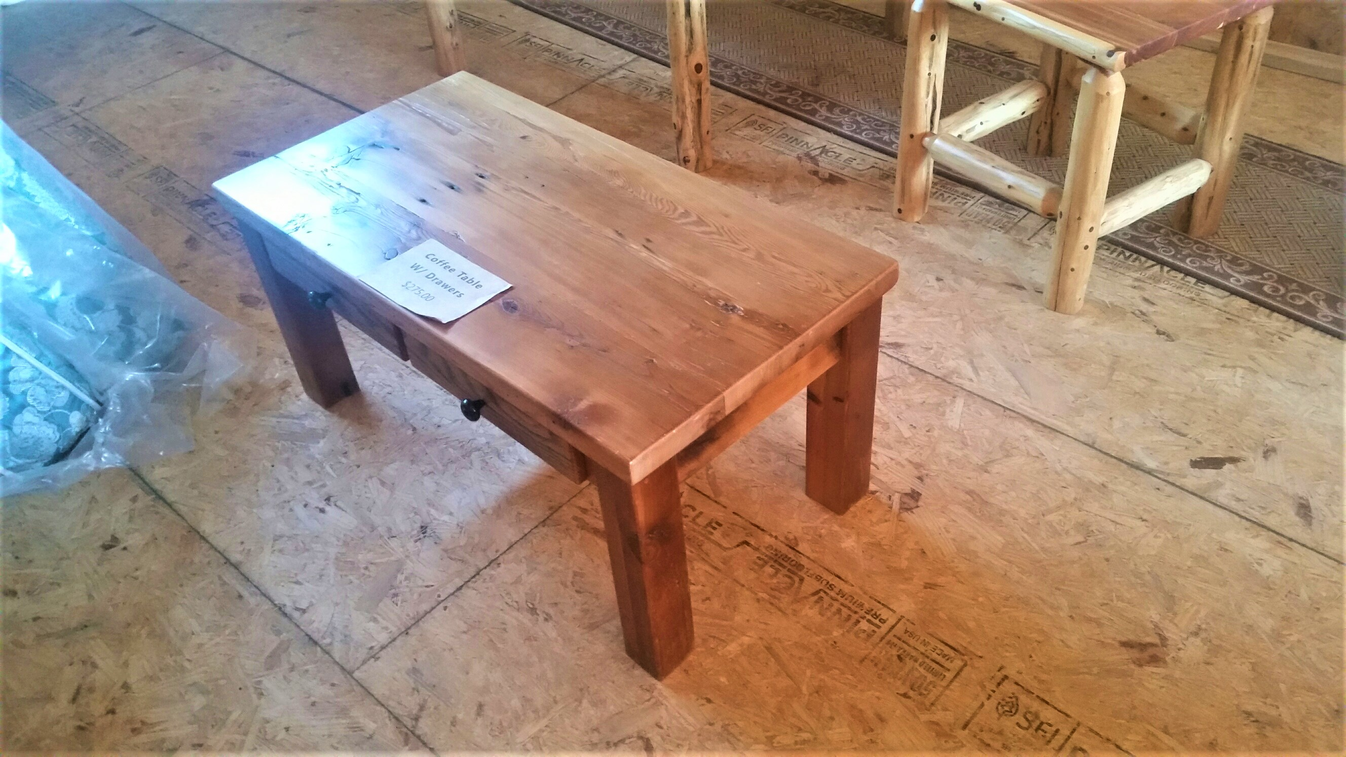 Barn wood coffee table w drawers small log cabins horse barns barn wood coffee table geotapseo Image collections