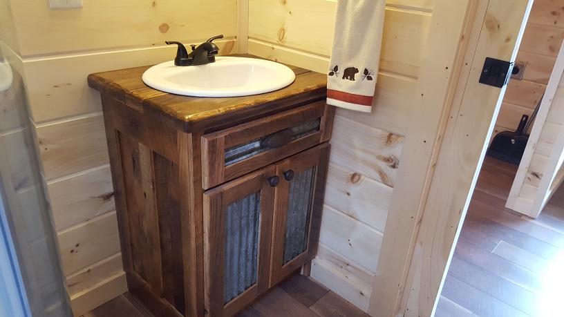Barn Wood Vanity W Corrugated Metal Front Small Log Cabins Horse - Bathroom vanities nashville