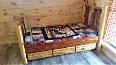 small log cabins horse barns factory direct sheds 10420 | twin red cedar drawer bed 400x225