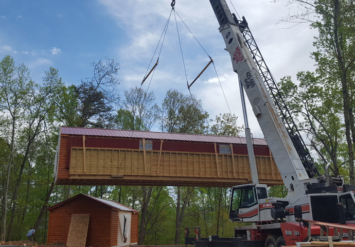 crane moving cabin in place